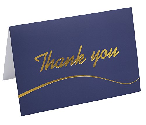 110 Elegant Thank You Cards in Blue with Envelopes and Stickers - Bulk Notes Embossed with Gold Foil Letters for Weddings, Graduations, Engagements, Business, Formal, Baby Showers, 4x6 in a (Gold Foil Embossed Award)