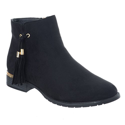 Miss Image UK Ladies Womens New Chelsea Low Flat Block Heel Riding Biker Zip UP Pixie Ankle Boots Shoes Size Black Faux Suede f3hkpeOQ0