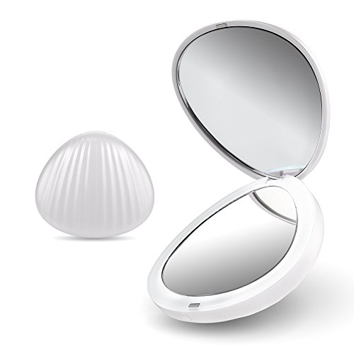 Magnification Purse Mirror (UPmall Handy Double-sided 1×5× Magnification Makeup Mirror with Led Light, Purse Size Lightweight Compatible with Cosmetics Bag, Portable for Party, Prom, Gathering)