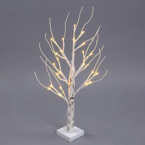 Easter Decorations Tree (Excelvan Desk Lighted Tree Light, Decorative Flexible Creative Colorful Light, Perfect for Home Festival Party Wedding, Indoor & Outdoor Decoration (White Birch))