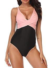 B2prity Trajes de baño de una pieza para mujer Sexy Deep V Plunge Cross Ruched Backless Monokini Traje de baño Tummy Control Swimwear