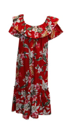Jade Fashions Inc. Women Hawaiian Short Double Ruffle Red Orchid Muumuu-Red-2XL (Ruffle Muumuu)
