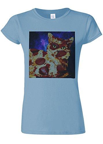 絶縁する精査抜本的なPizza Cat Meow Kitten Funny Novelty Light Blue Women T Shirt Top-S