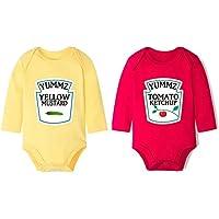 e75e8239d Baby Bodysuits For Twin Boys Girls Long Sleeve Unisex Twin Clothes Yummz  Tomato Ketchup Yellow Mustard