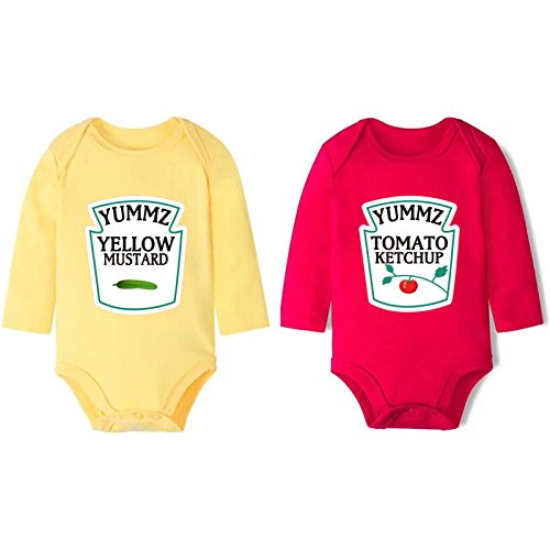 YSCULBUTOL Cotton Ketchup and Mustard Set Bodysuits Twins Halloween Outfit One Piece Cute Funny (9-12 (Halloween Outfits Funny)