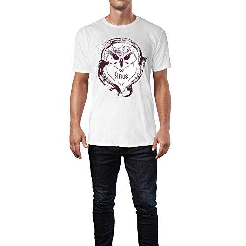 SINUS ART ® Splash Art Eule mit Kopfhörern Herren T-Shirts in Weiss Fun Shirt mit tollen Aufdruck