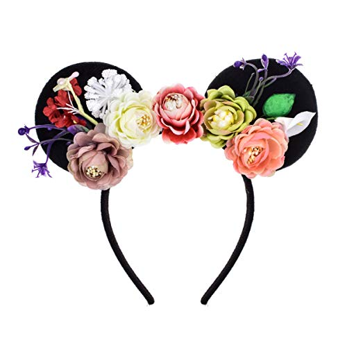 A Miaow Flower Headband Unicorn Headpiece Mickey Mouse Ears Costume Minnie Hair Hoop Halloween Part (Colourful Flower) ()