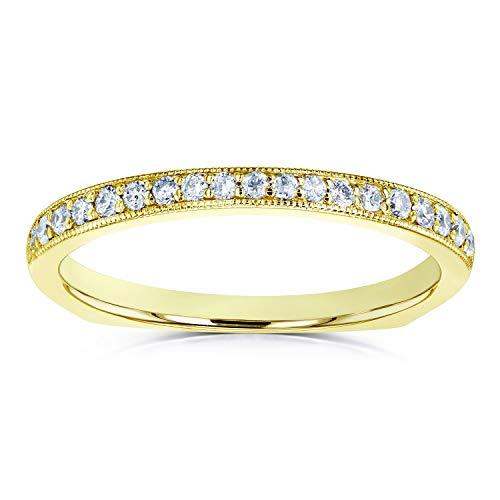 Diamond Pave-set Milgrain Square Shank Wedding Band 1/5 CTW 14k Yellow Gold, 5.5