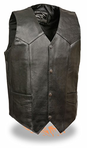 Exchange Leather Vest - Mens Basic Black Cowhide Leather Vest (XL)