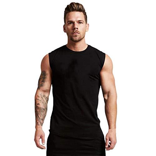 (Men's Muscle Tank Top Summer Sleeveless Shirts Round Collar Elliptical Hem Casual Fitness A-Shirt (M, Black))