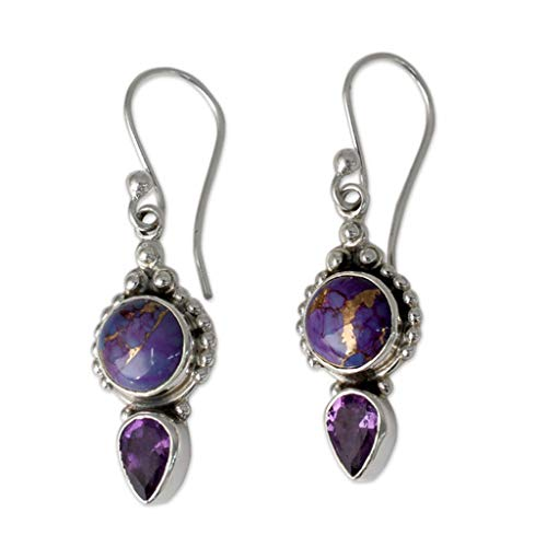 Celiy Women Vintage Jewelry Moonstone Earrings Gemstone Dangle Hook Stud Earring Gift (Purple) ()