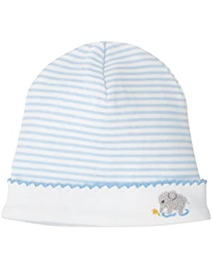 Classic Layette Baby Boy French Knot Elephant Hat