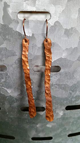Linear Olive - Linear hammered copper earrings
