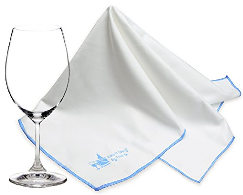 MEGA Sized Microfiber Glass Polishing Cloth by Trendy Bartender - 30x30 inch Premium Lint Free Cleaning Cloth For Stemware, Windows etc - Bar Towel For The Spotless Results - Premium Quality (White)