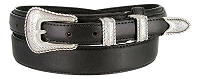 Silver Buckle Set Oil-Tanned Genuine Leather Western Ranger Belt for Men