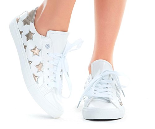 Womens Fashion Star Vegan Leather Comfortable Casual Fashion Sneaker Shoes EURO Star (9, Gold Multi Star)