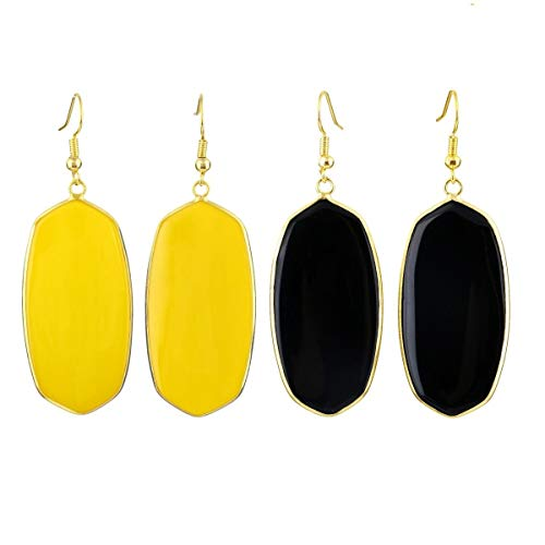 SUNYIK Black Agate & Yellow Crystal Stone Dangle Earrings for Women, Healing Crystal Drop Earring for Ladies Gold Plated, Pack of 2