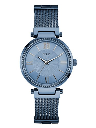 GUESS Women's Stainless Steel Crystal Accented Wire Bangle Bracelet Watch, Color: Sky Blue (Model: U0638L3)
