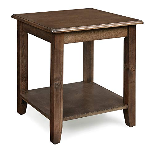 "VASAGLE End Real Legs, Simple Rustic Side Table with Storage Shelf, Easy Assembly, for Living Room, Entryway, Wood Grain Brown ULET14CB, 17.7""L x 17.7""W x 19.7""H (45 x 45 x 50 cm) Dark Walnut"