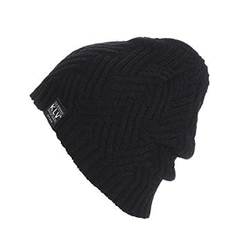 Binmer(TM) Fashion Men's Women's Knit Baggy Beanie Cap Oversize Winter Hat (Black)