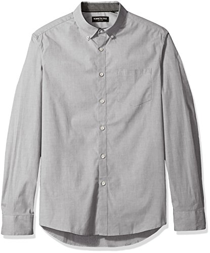 Kenneth Cole New York Men's Long Sleeve Stretch End Shirt, Dim Grey Combo, Large - End Combo