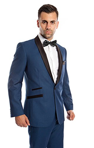 Nice JYDress JY Mens Solid Shawl Lapel Wedding Suits Blazer 2 Piece Groom Tuxedos