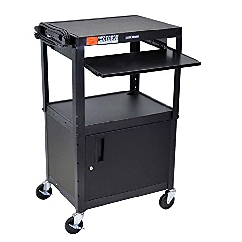 Awesome LUXOR AVJ42KBC Adjustable Steel A/V Cart   Cabinet With Pullout Trays