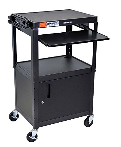 Luxor Mobile Adjustable Multipurpose Steel Storage AV Cart with Cabinet, Pullout Keyboard Tray - (Steel Welded Multimedia Cabinet)
