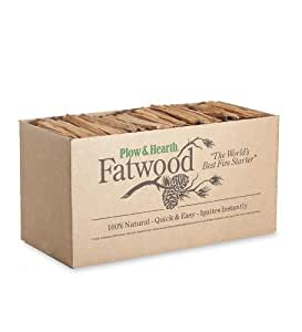 Plow & Hearth 35 LB Box Fatwood Fire Starter All Natural Organic Resin Rich Eco Friendly Kindling Sticks for Wood Stoves Fireplaces Campfires Fire Pits Burns Quickly and Easily Safe Non Toxic