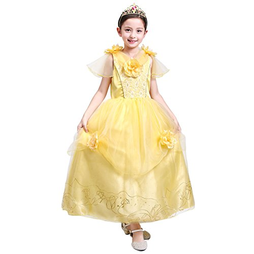loel Girls' Belle Princess Costume Halloween Party Fancy Dresses