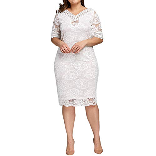 Women's Scooped Neckline Floral lace Top Plus Size Cocktail Party Midi Dress White (Sale Furniture Patio Labor Day)