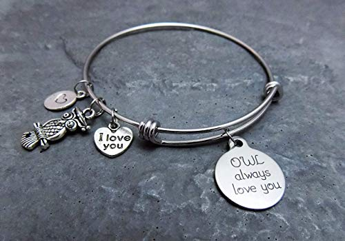 Owl always love you charm bracelet - Stainless steel expandable bangle