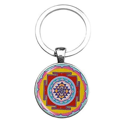 Llavero con mandala de Sri Yantra, llavero de geometría ...