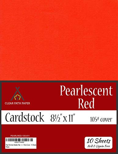 (Pearl Shimmer Metallic Red Cardstock - 8.5 x 11 inch - 105Lb Cover - 10)
