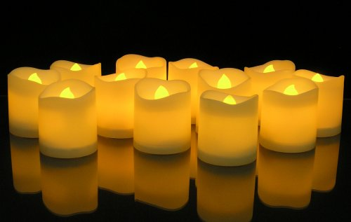 LED Lighted Flickering Votive Style Flameless Candles - Banberry Designs - Box of 12 - Wedding Decorations - White