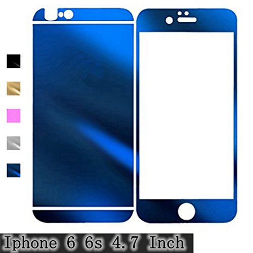 Crystal Faceplates (For iPhone 6 / 6S (4.7 Inch) Protector Film,Mirror Effect Anti Scratches, Gravydeals Blue Anti-Crystal Clear Front+Back Tempered Glass Screen Protector Film Skin Sticker)