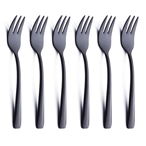 Black Oyster Cocktail Fork Set of 6 Piece 18/0 Stainless Steel 6.7 inch Modern Small Dessert Cake Fork Heavy Weight Appetizer Silverware Flatware Forks Only Serving for 6 Eating Cutlery Bulk ()