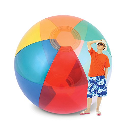 (KOVOT Humongous Larger Than Life Transparent Giant Beach Ball: 8-9 Feet Tall Inflated - 12 Feet From Pole to)