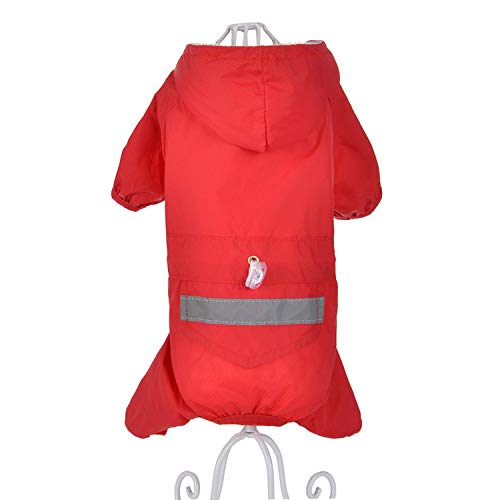 shine-hearty Pet Raincoat Double Spring and Puppy Dog Costume Waterproof Jacket XS-XXL,Red,XXL