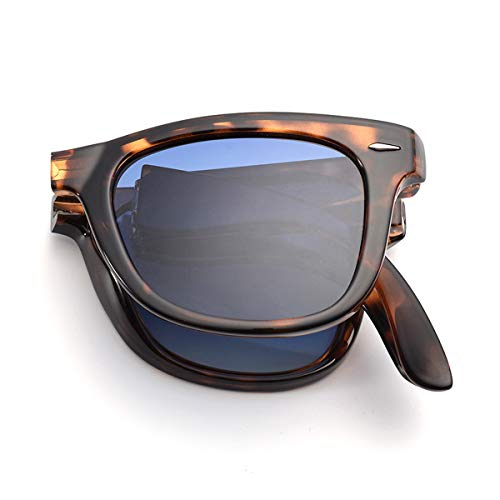 Classic Vintage Folding Sunglasses for Men and Women UV400 Two Tone Frame With Case ()