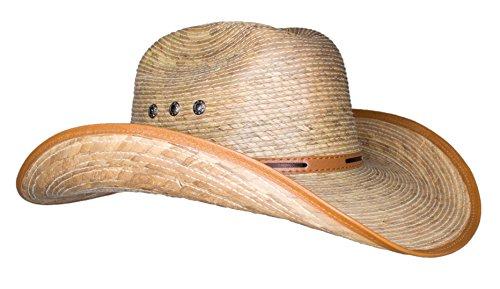 Rising Phoenix Industries Large Mexican Palm Leaf Cowboy Hat, Sombreros Vaqueros de Palma de Hombre, Flex Fit (Natural/Tan Trim)
