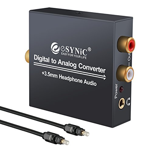 ESYNIC DAC Digital to Analog Audio Converter Optical Coax to Analog RCA Audio Adapter with Optical Cable 3.5mm Jack Output for HDTV Blu Ray DVD Sky HD XBox 360 TV (Analog Hdtv Tv)