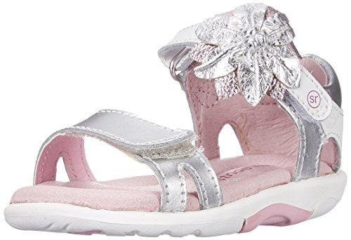 Stride Rite SRT Naiya Dress Sandal (Toddler),White/Silver,8 M US Toddler