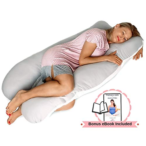 Pillow Capital Full Body Pregnancy Pillow - U Shaped Maternity Pillow for Back, Hip, Knee and Neck Pain Relief - Washable 100% Percale Cotton Cover - Gift Wrapped (Home Test To Find Out Gender Of Baby)