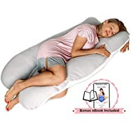 Pillow Capital Full Body Pregnancy Pillow – U Shaped Maternity Pillow for Back, Hip, Knee and Neck Pain Relief - Washable 100% Percale Cotton Cover - Gift Wrapped
