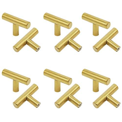 (Goldentimehardware Gold Stainless Steel Single T Bar Door Handles Kitchen Cabinet Drawer Pulls Knobs 50mm/2