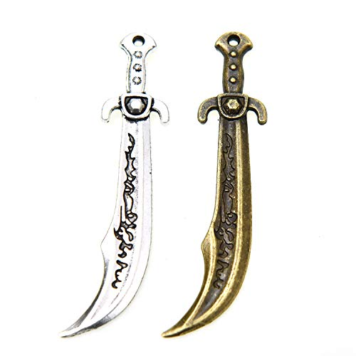 Monrocco 20cs Alloy Swords Knife Charms Pendants Weapon Charms Pendants Beads for DIY Necklace Bracelet Jewelry Making
