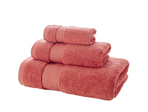 Bagno Milano Luxury Hotel & Spa Collection Towel, Super Soft and Ultra Absorbent Premium Turkish Cotton Set of Towel (3 Pieces Towel Set, Coral Red) ()