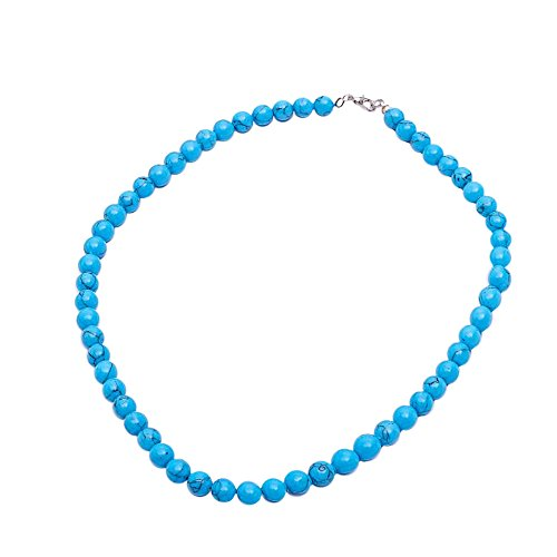 Red Cube Women Blue Teal Vintage Classic Pressed Turquoise Beaded Thread Necklace Beads Jewelry (Blue) (Turquoise Plastic Necklace)