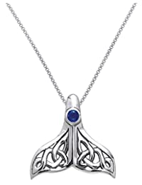 Jewelry Trends Sterling Silver Celtic Knot Whale Tail Pendant with Blue Glass on 18 Inch Chain Necklace
